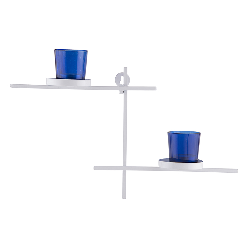 White Scorching Ladder with Pair of Votive Blue, Wall Hanging Candle Holder
