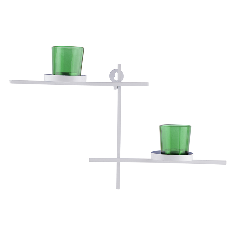 White Scorching Ladder with Pair of Votive Green, Wall Hanging Candle Holder