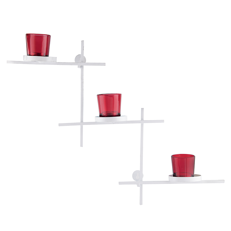 White Scorching Ladder with Three Votive Red, Wall Hanging Candle Holder