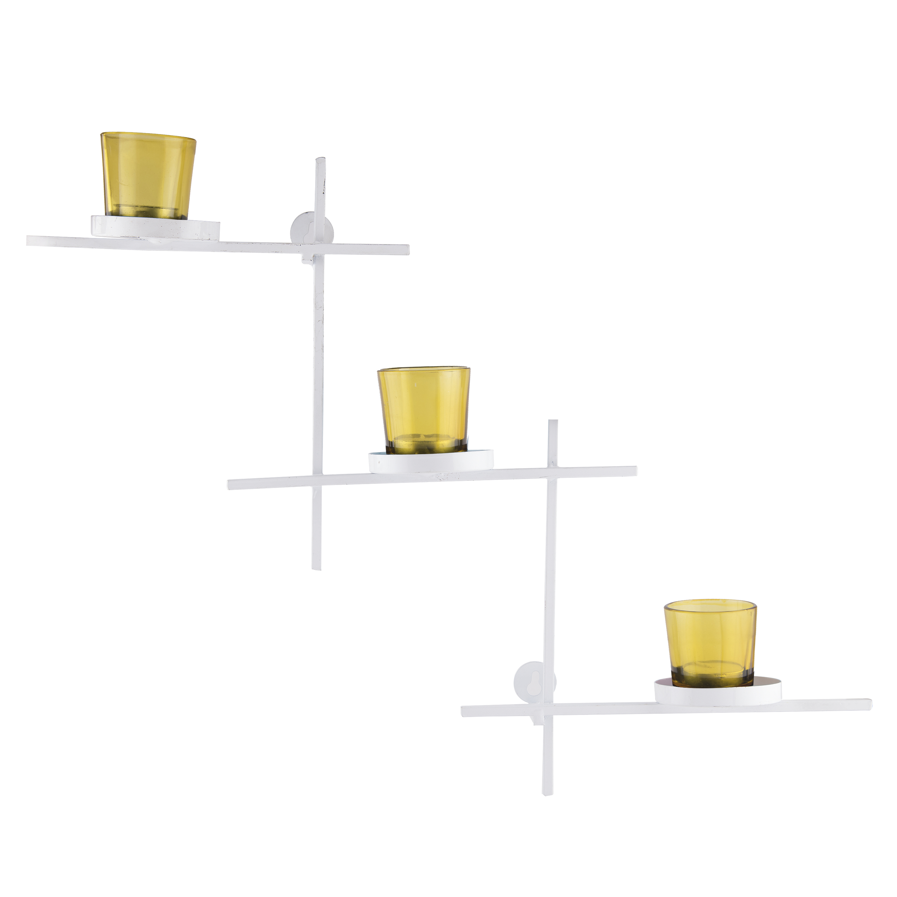 White Scorching Ladder with Three Votive Yellow, Wall Hanging Candle Holder