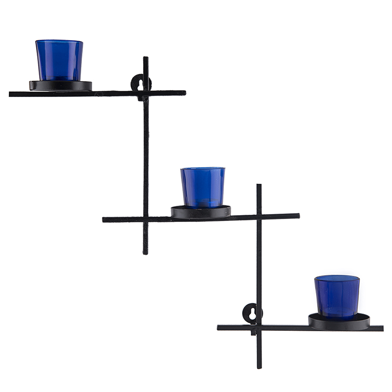 Black Scorching Ladder with Three Votive Blue, Wall Hanging Candle Holder