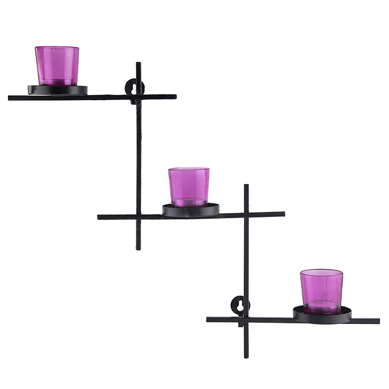 Black Scorching Ladder with Three Votive Pink, Wall Hanging Candle Holder