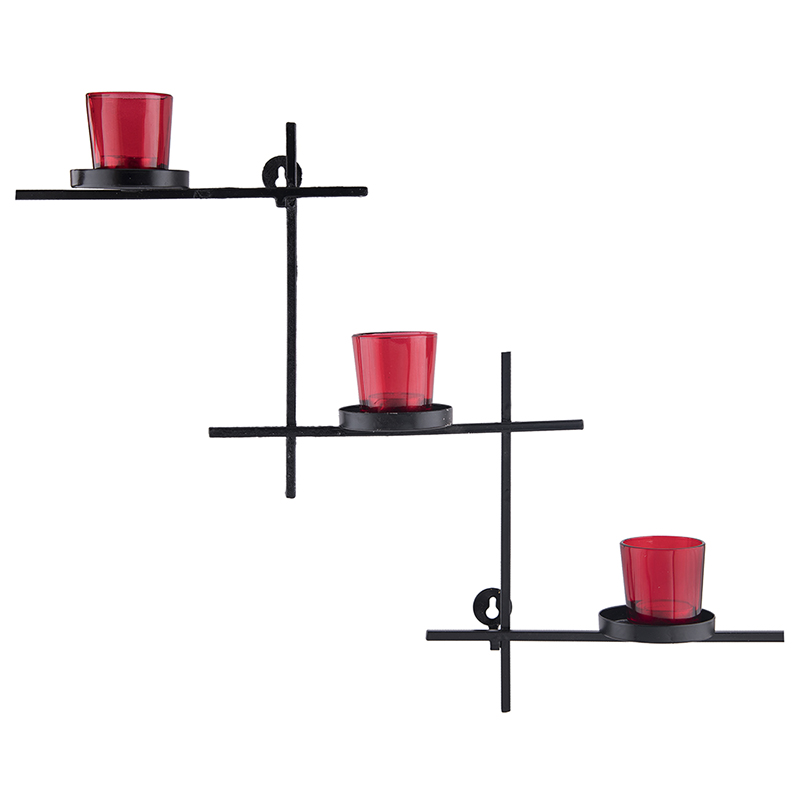 Black Scorching Ladder with Three Votive Red, Wall Hanging Candle Holder