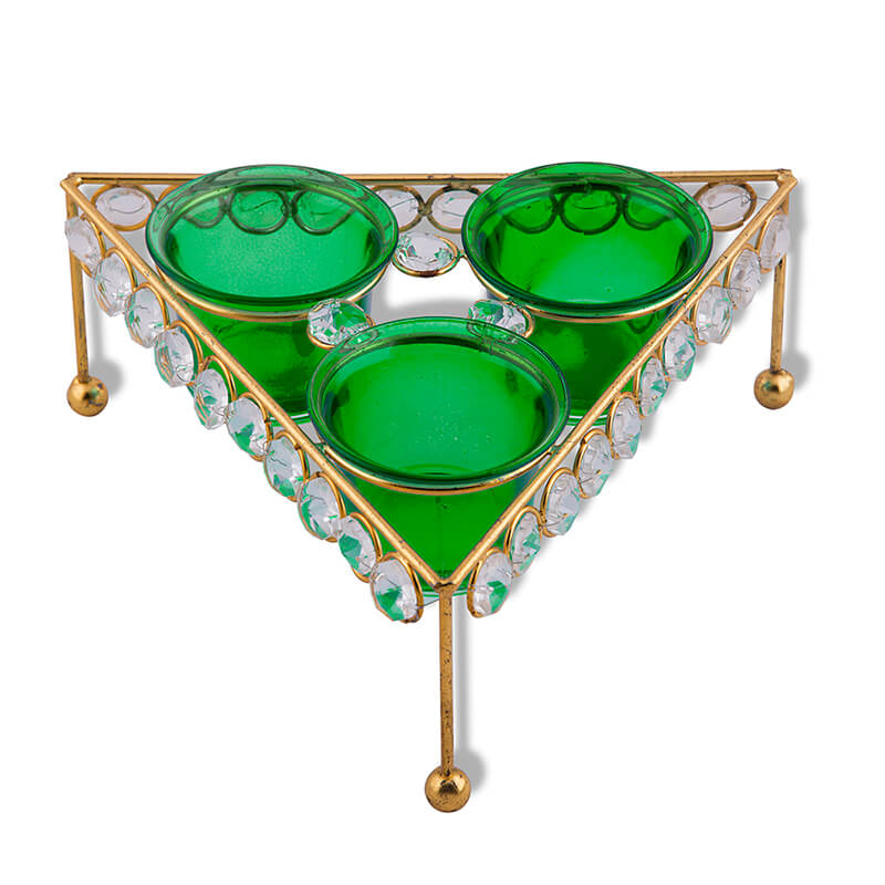 Crystal Tri Votive Stand (with 3 Votive) Green, Candle Holder with Bonus Tealight Candles