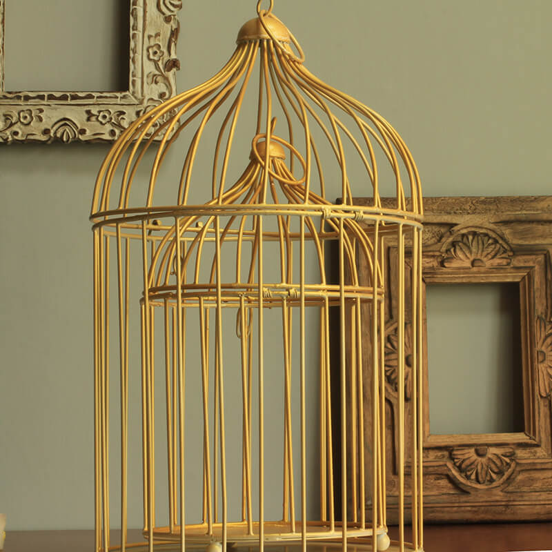 Golden Bird Cage (Set of 2), with Hanging Chain