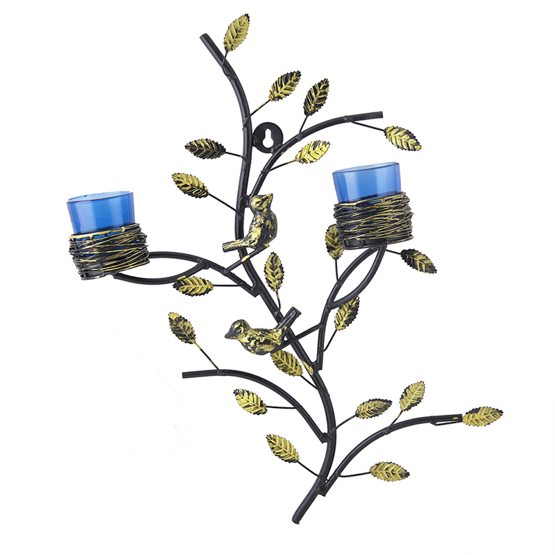 Tree with Bird Nest Votive Stand Blue, Wall Candle Holder and Tealight Candles