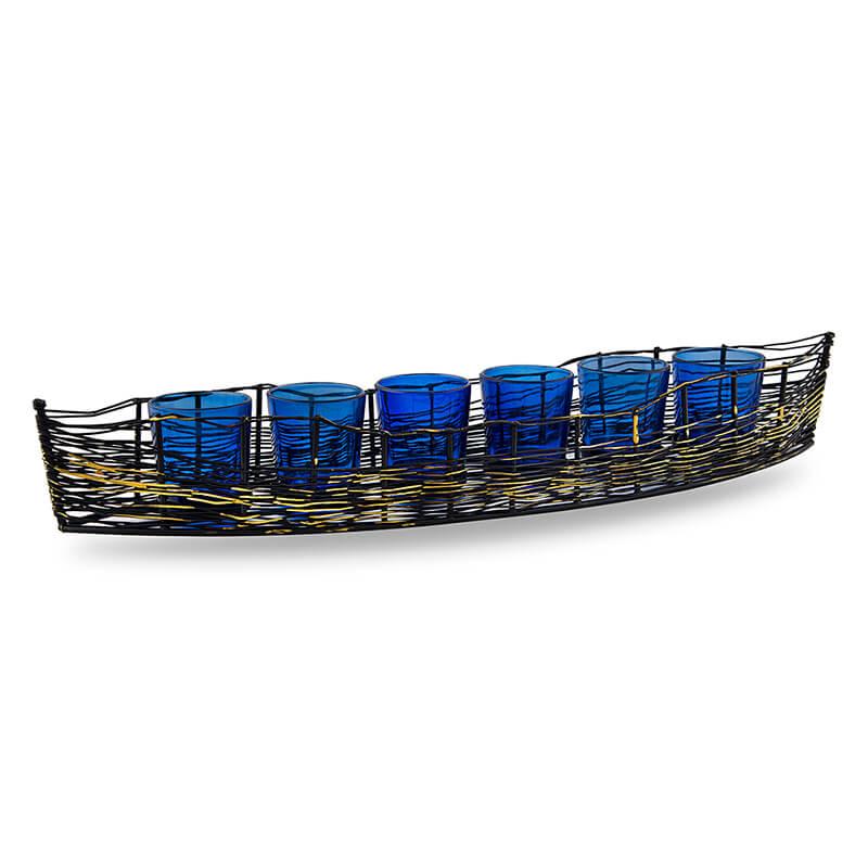 Wire Cruise Six Votive Stand (Set of 6 Votive) Blue