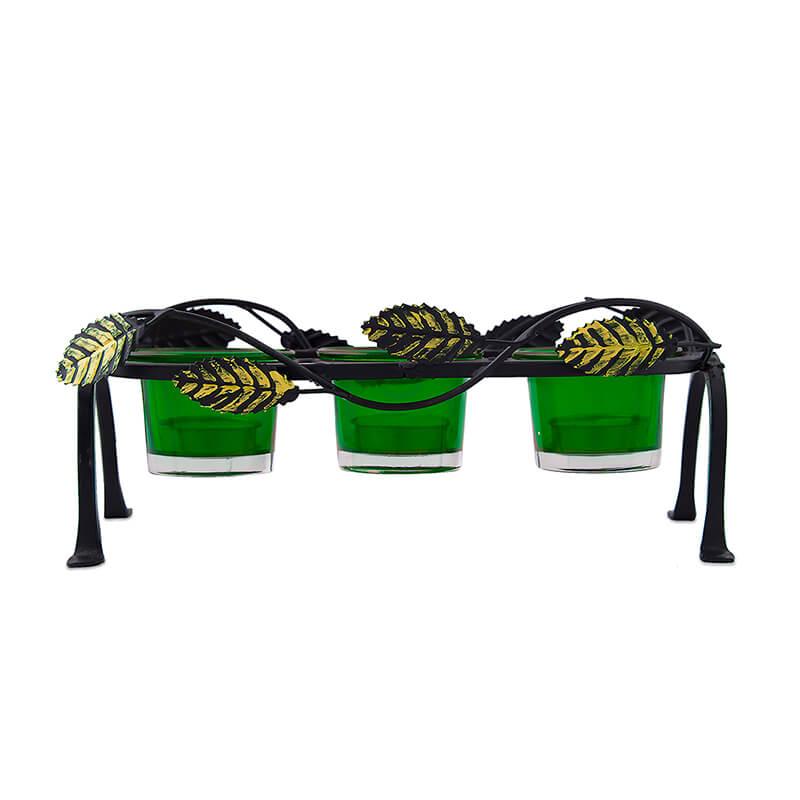 Leafy Votive Stand (3 Votive) Green