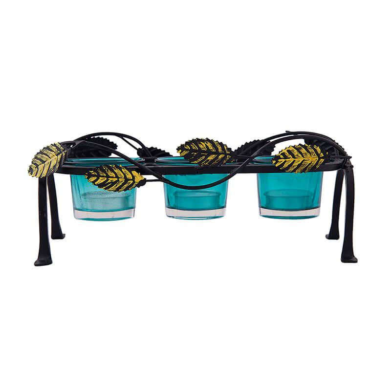 Leafy Votive Stand (3 Votive) Turquoise