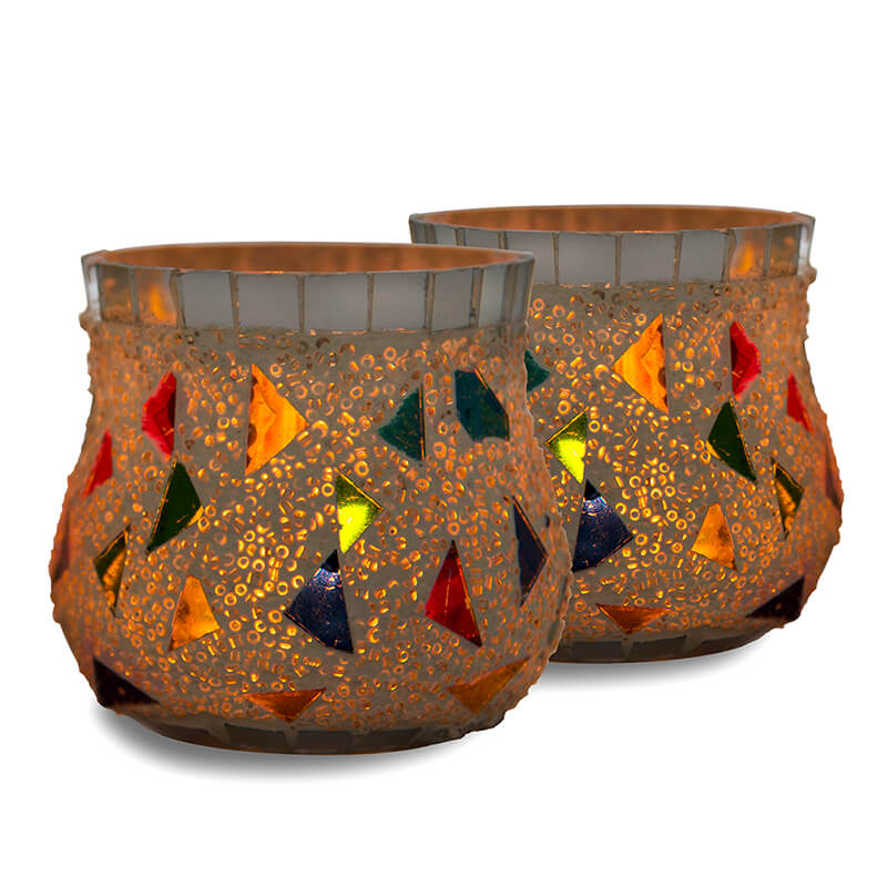Mosaic Votive (Set of 2 Piece), Glass Candle Holder Stand with Free Candle