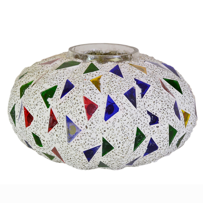 Persian Mosaic Melon Votive Small, Glass Candle Holder Stand with Free Candle