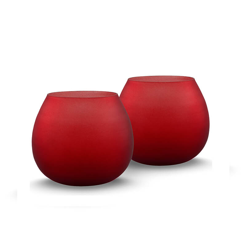 Red Frost Pot Votive (Set of two pieces)- Small
