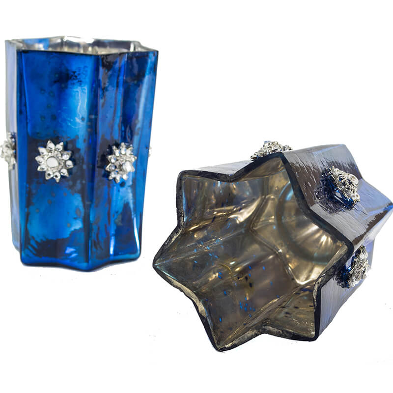 Silver Star Glass Votive-Large (Set of 2) Blue