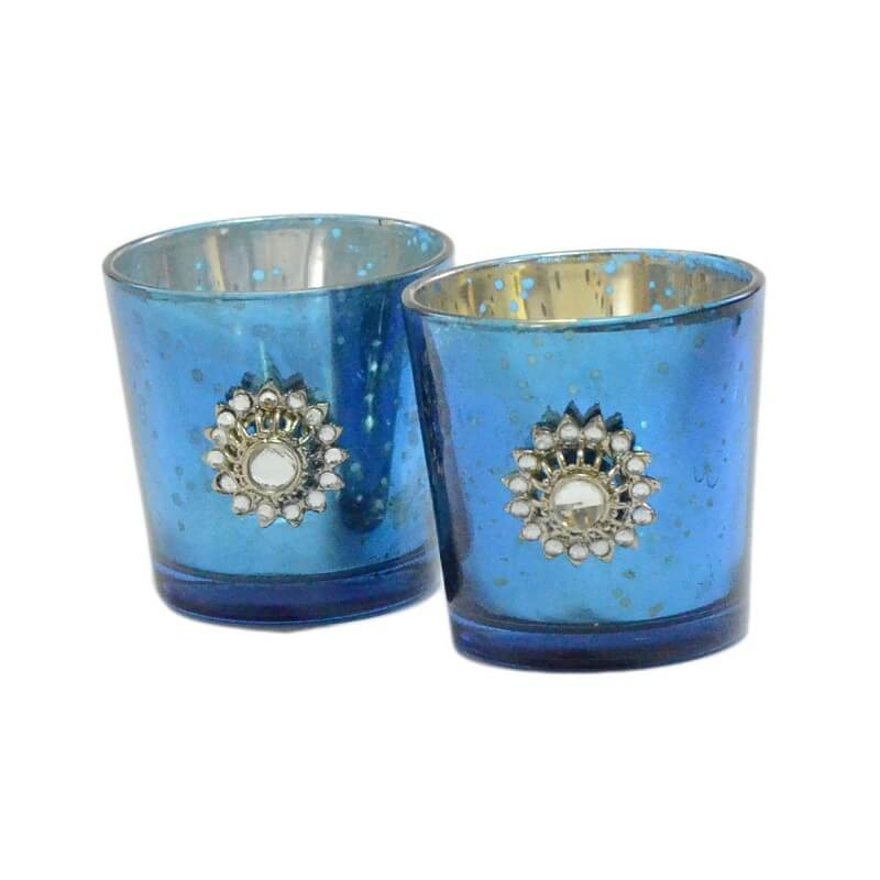 Silver Glass Votive with Jewel Brooch (Set of 2) Blue
