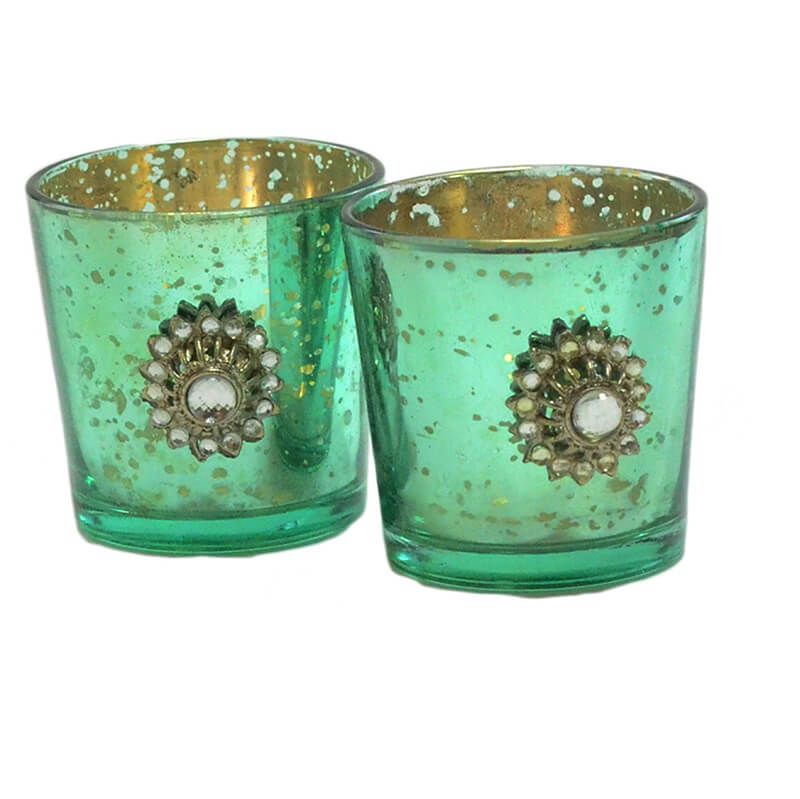 Silver Glass Votive with Jewel Brooch (Set of 2) Turquoise