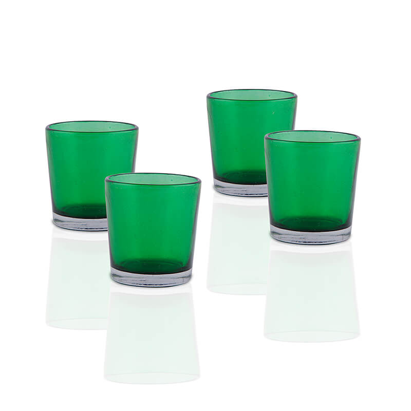 Glossy Votive Set (4 Pieces) Green Glass Candle Holder, with T-Lights