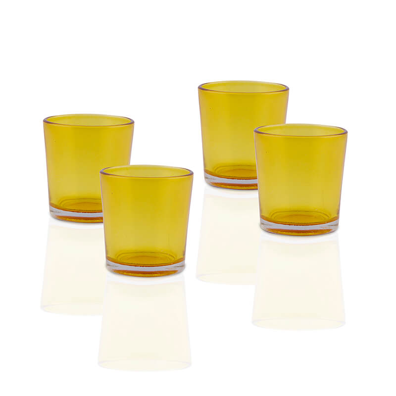 Glossy Votive Set (4 Pieces) Yellow Glass Candle Holder, with T-Lights