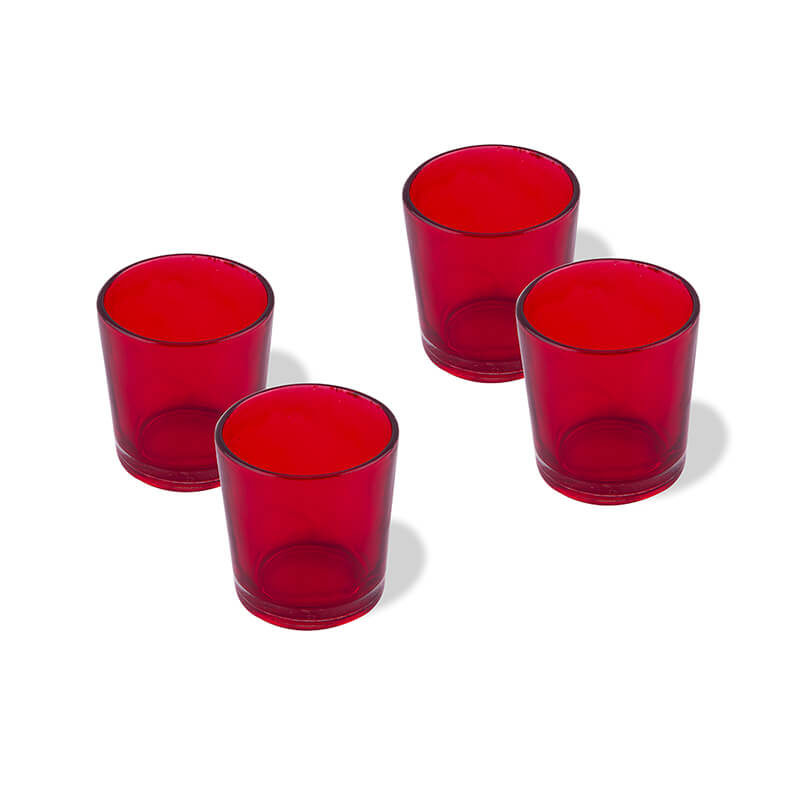 Glossy Votive Set (4 Pieces) Red Glass Candle Holder, with T-Lights