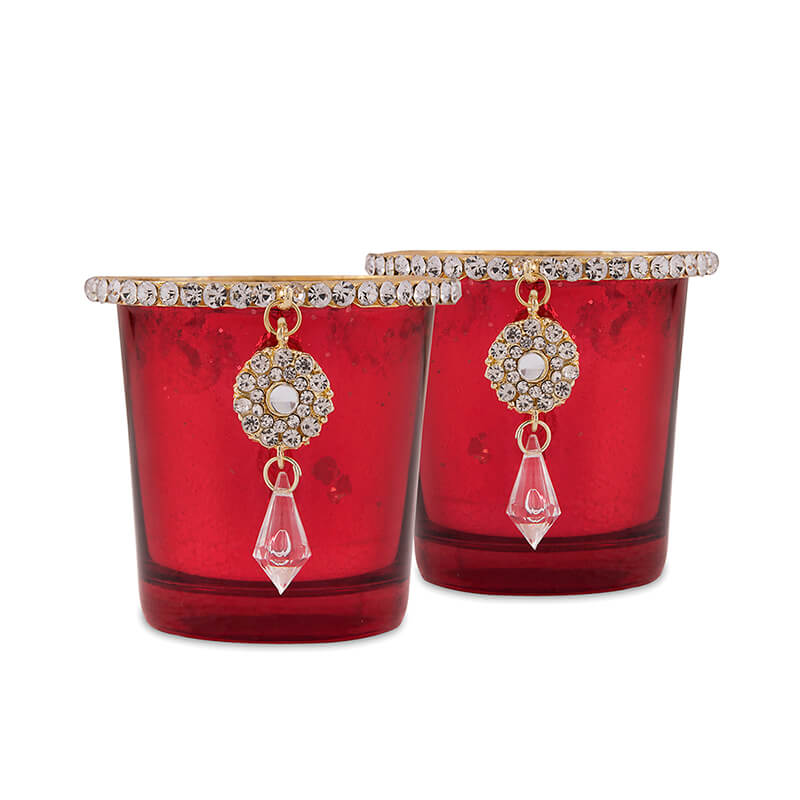 Silver Glass Votive with Jewel Ring and Dangler Red