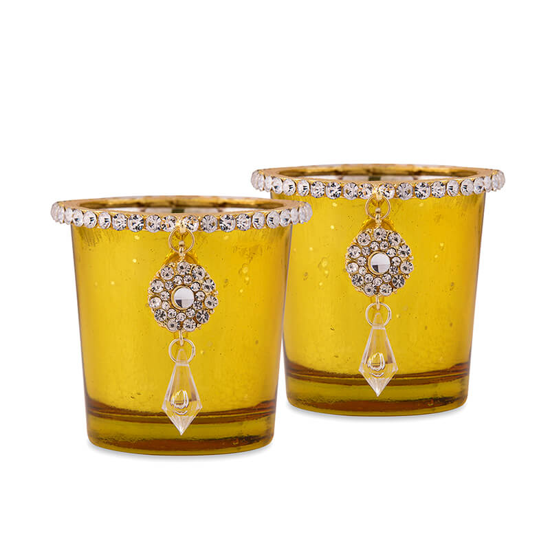 Silver Glass Votive with Jewel Ring and Dangler Gold