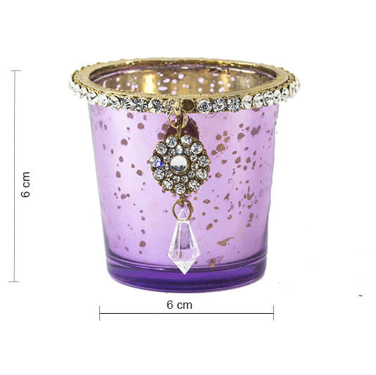 Silver Glass Votive with Jewel Ring and Dangler Violet