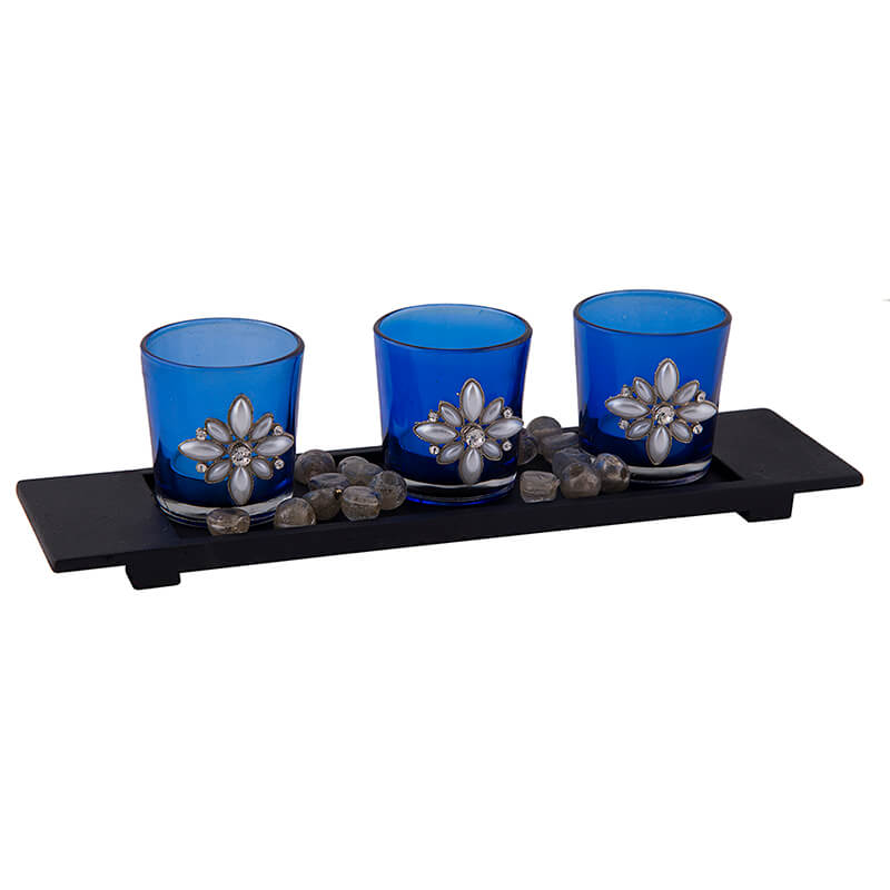 Pearl Votive with Wood Tray Blue, Glass Candle Holder Stand with Tea Light, Table Decoration