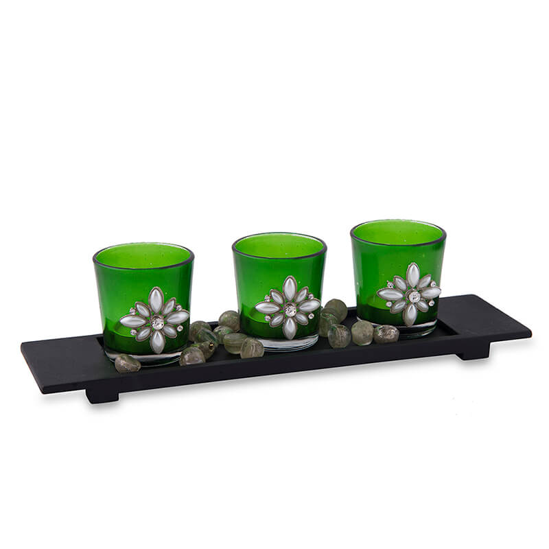 Pearl Votive with Wood Tray Green, Glass Candle Holder Stand with Tea Light, Table Decoration