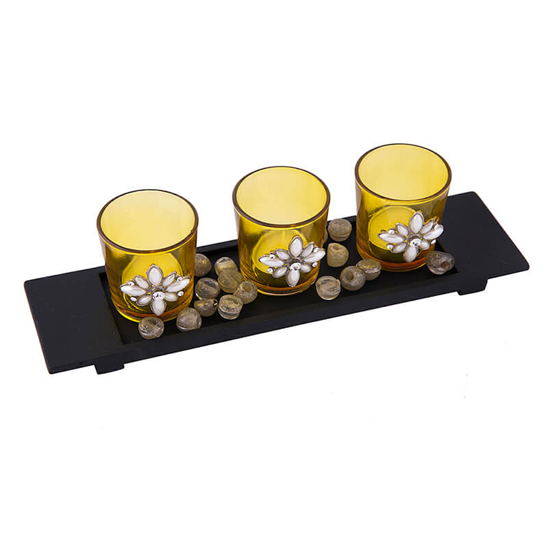 Pearl Votive with Wood Tray Yellow, Glass Candle Holder Stand with Tea Light, Table Decoration