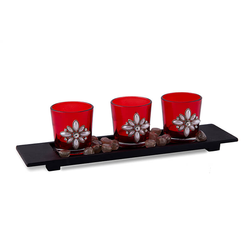 Pearl Votive with Wood Tray Red, Glass Candle Holder Stand with Tea Light, Table Decoration