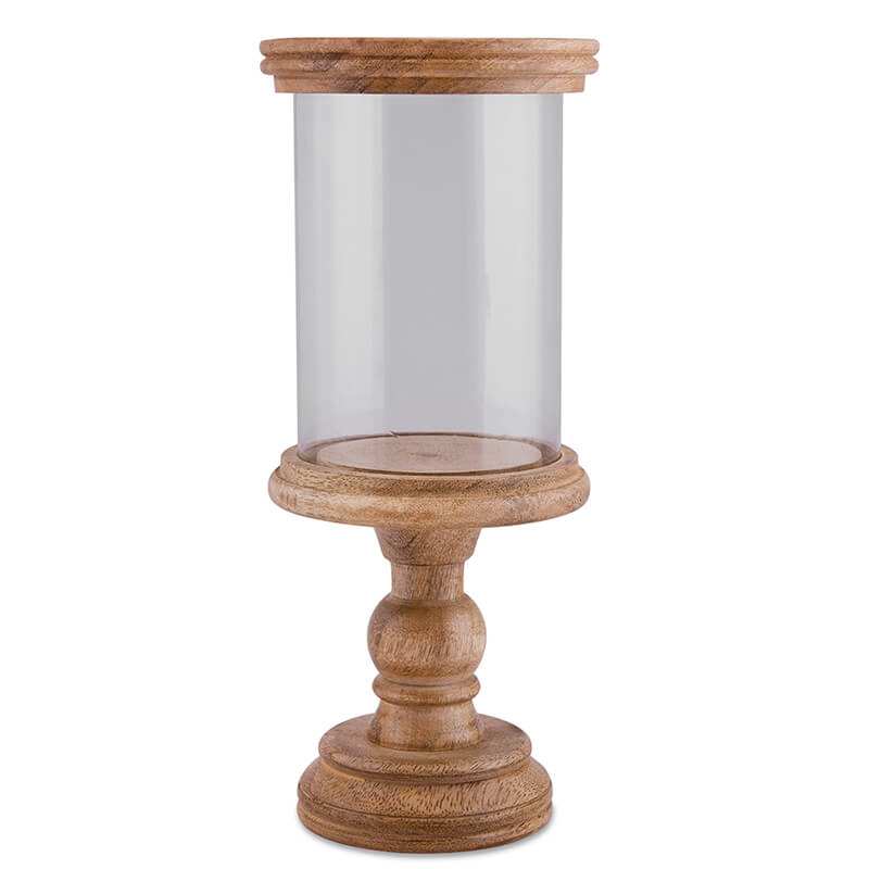 Classic Cubist Hurricane, Natural finish, Wooden Candle Holder with Glass Chimney