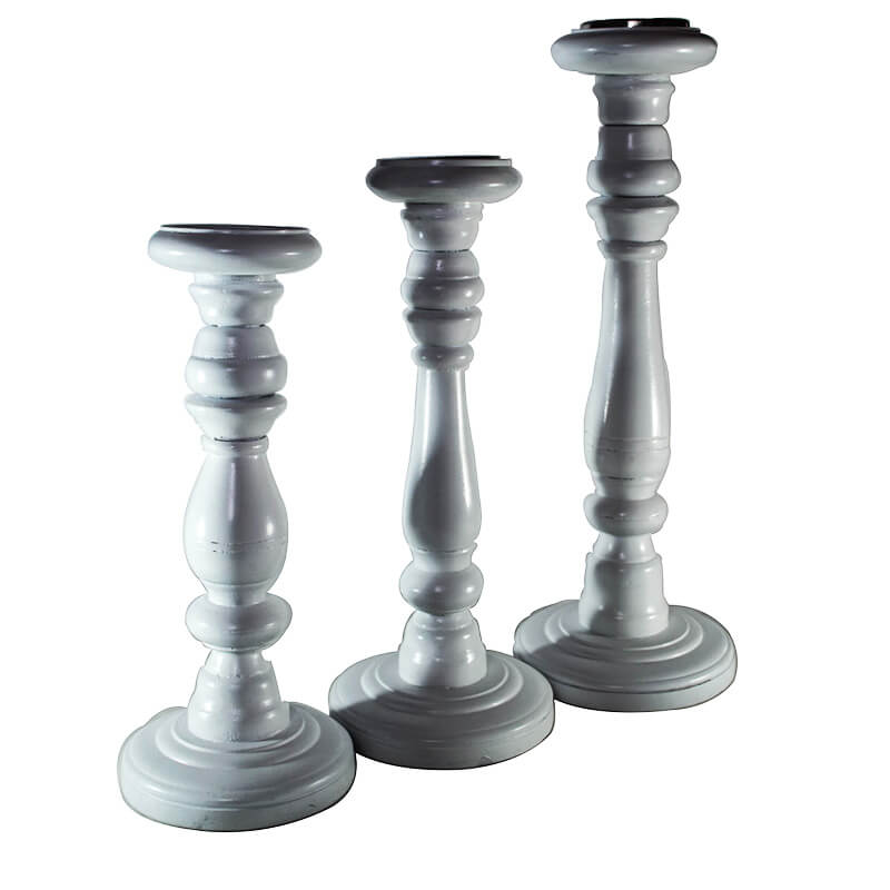 Wood candle Stand White (Set of 3)