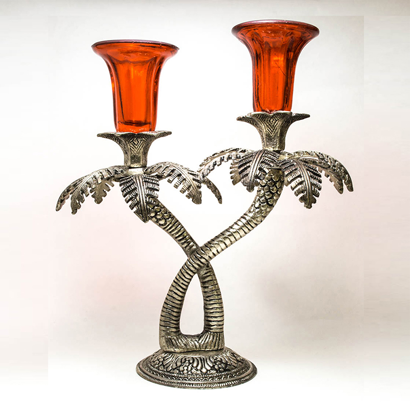 Double Palm-Tree Candle Stand with Hand Carving Red