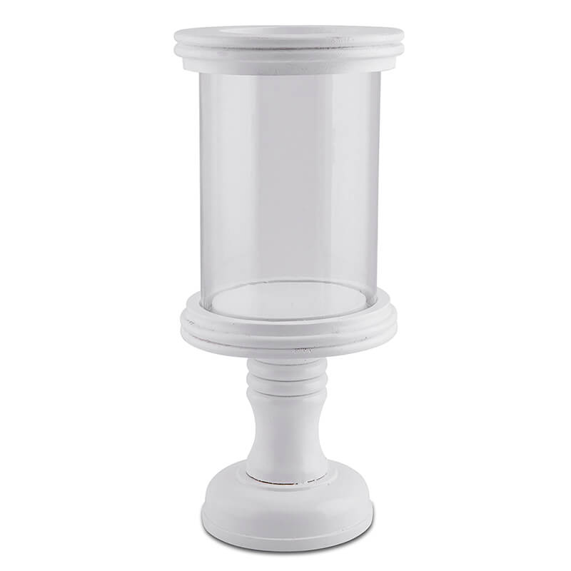 Stacked Disk Hurricane, White Finish Wooden Candle Holder with Glass Chimney