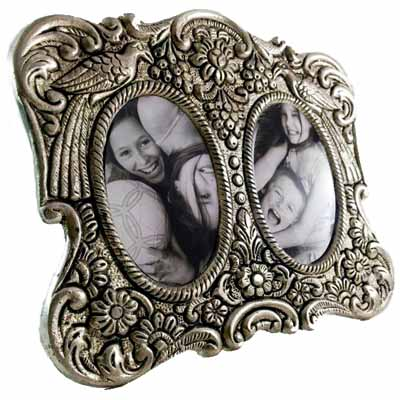 Double Mirror Peacock Photoframe