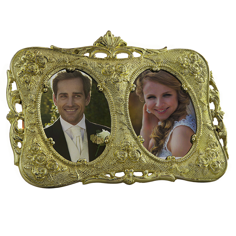 Double-Mirror Golden Rose Metal Photoframe