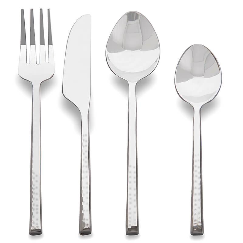 Premium Stainless Steel - Elegant Flatware 16 Pieces Classic Hammer Pattern Cutlery Set