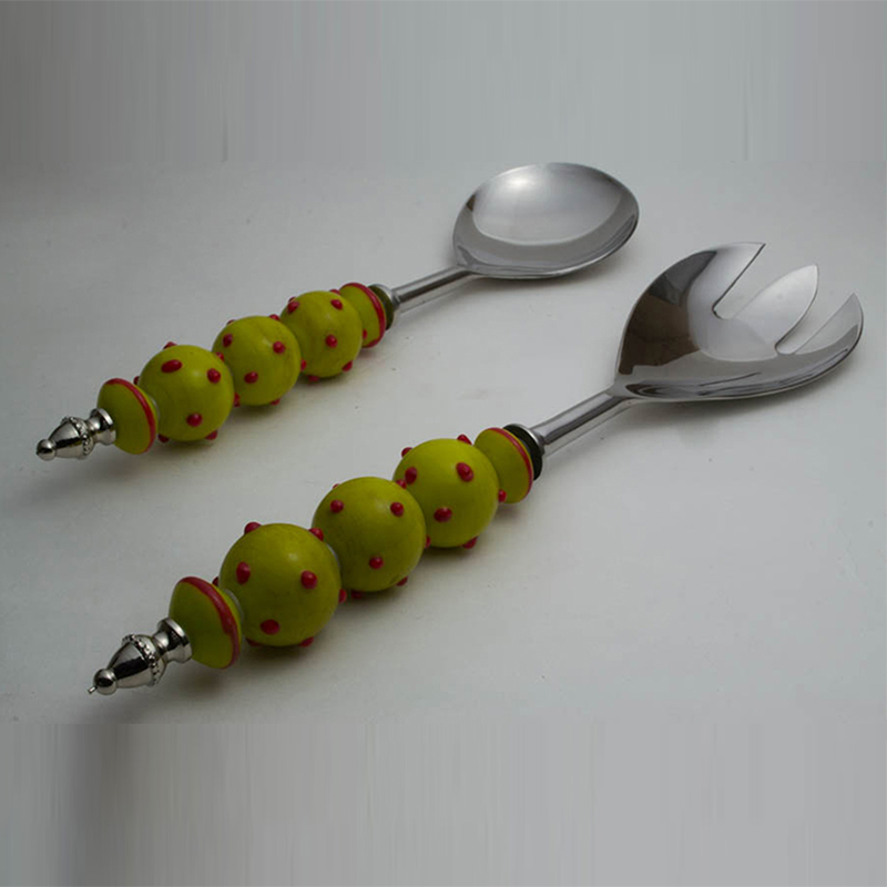 Salad Server Fork and Spoon Set of 2, Stainless Steel with Yellow Glass-Bead Handle and Red Polka Dots