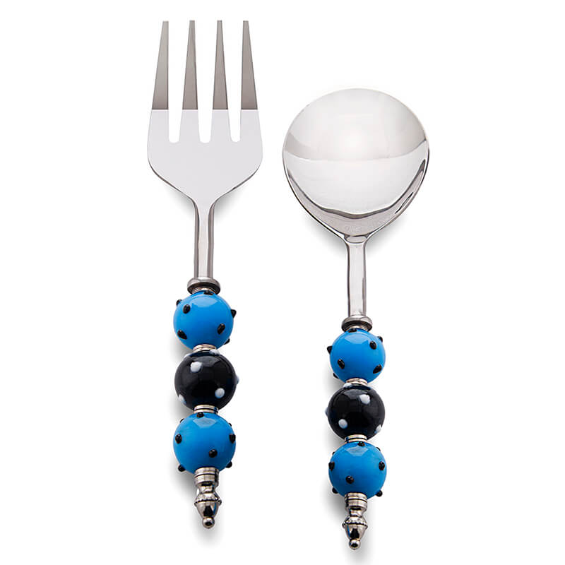 Noodle,Pasta Server and Serving Spoon Set of 2, Stainless Steel with Blue-Black Bead Handle