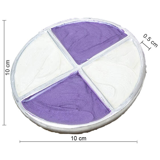 Cream-n-Lavender Round Aluminium Coaster (Set of 4 pc)