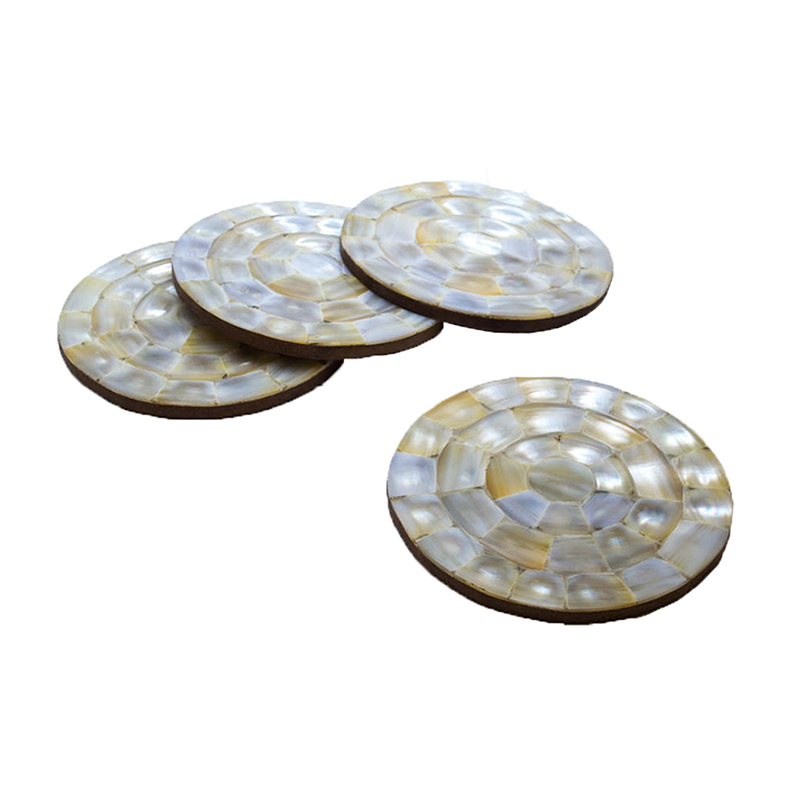 MOP Coaster Golden-White Round (Set of 4)