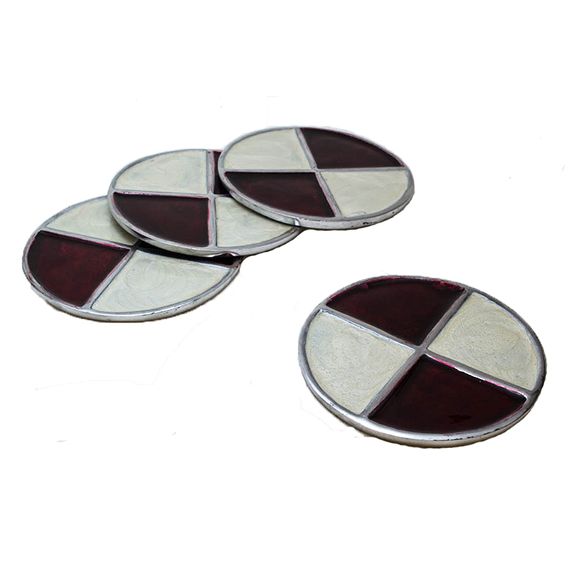 Brown-n-Cream Round Aluminium Coaster (Set of 4 pc)