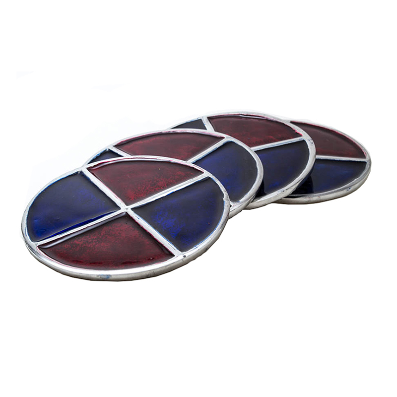 Scarlet- Azure Round Aluminium Coaster (Set of 4 pc)