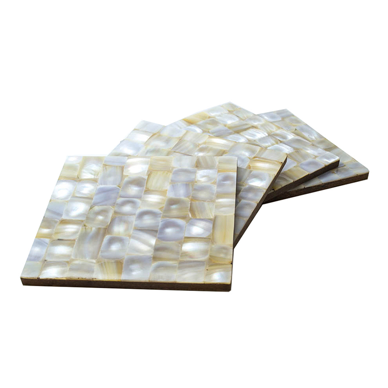 MOP Coaster Square Golden-White (Set of 4)