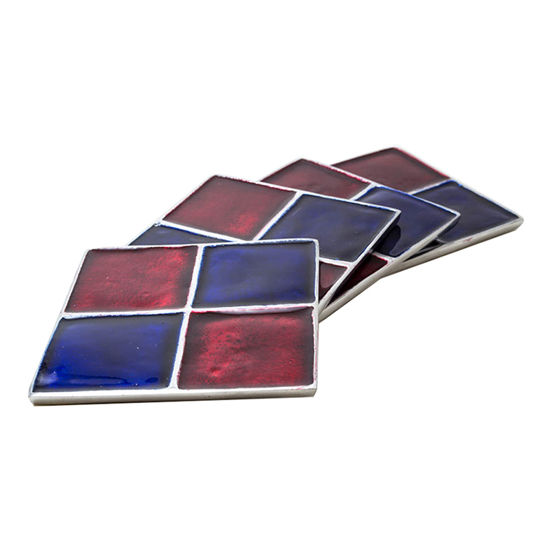 Scarlet- Azure Square Aluminium Coaster (Set of 4 pc)
