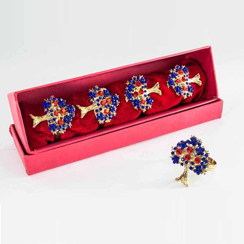 Golden Tree of Life with Blue Crystal napkin Ring (Set of 4)