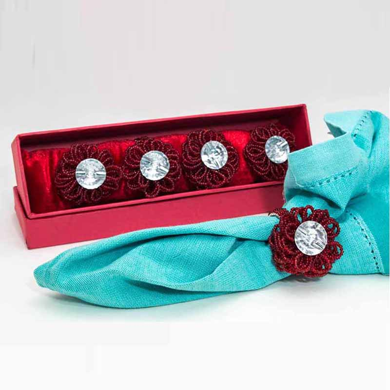Scarlet Knitted Bead Flower (4 pcs)