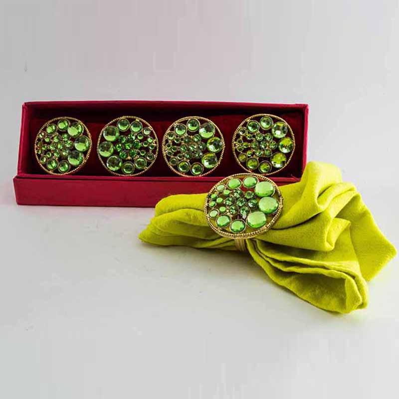 Stacked Caribbean-Green Crystal Napkin Ring (Set of 4)