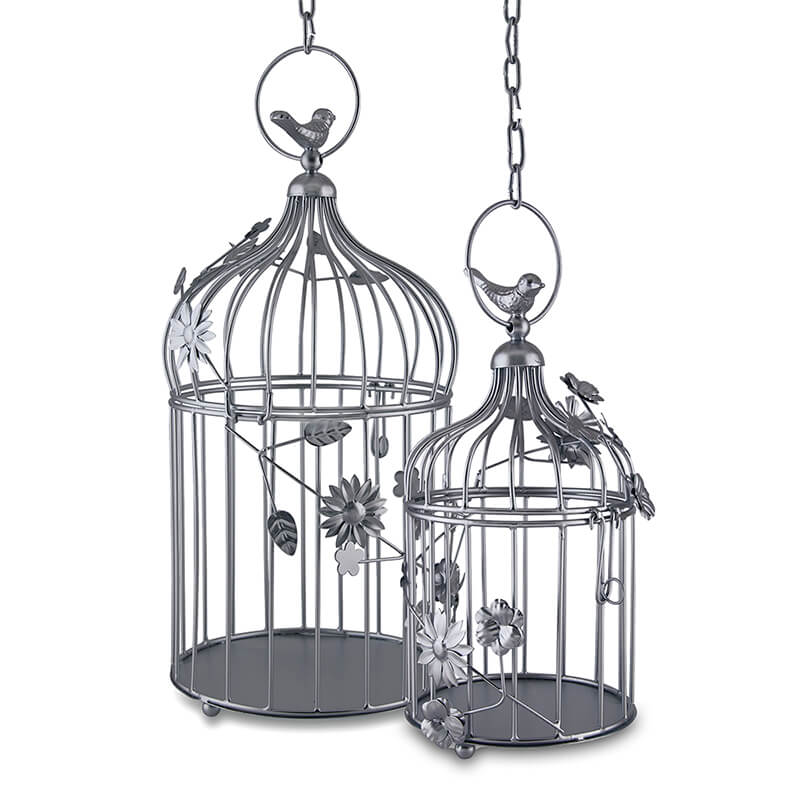 Silver Bird Cage With Floral Vine (Set of 2), With Hanging Chain