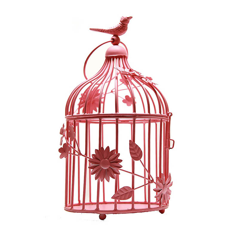 Hot Pink Bird Cage with floral vine: Small