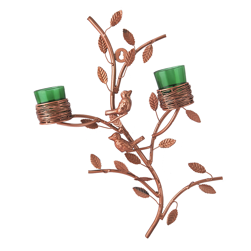 Copper Tree with Bird Nest Votive Stand Green, Wall Candle Holder and Tealight Candles, Rose Gold
